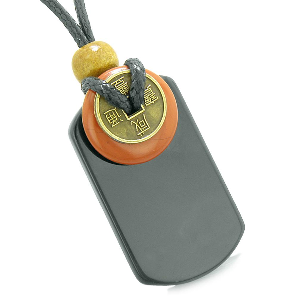 Cool Black Agate Tag and Red Jasper Lucky Coin Donut Amulet Magic Powers Pendant Necklace