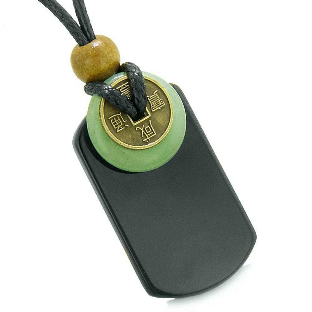 Cool Black Agate Tag and Green Quartz Lucky Coin Donut Amulet Magic Powers Pendant Necklace