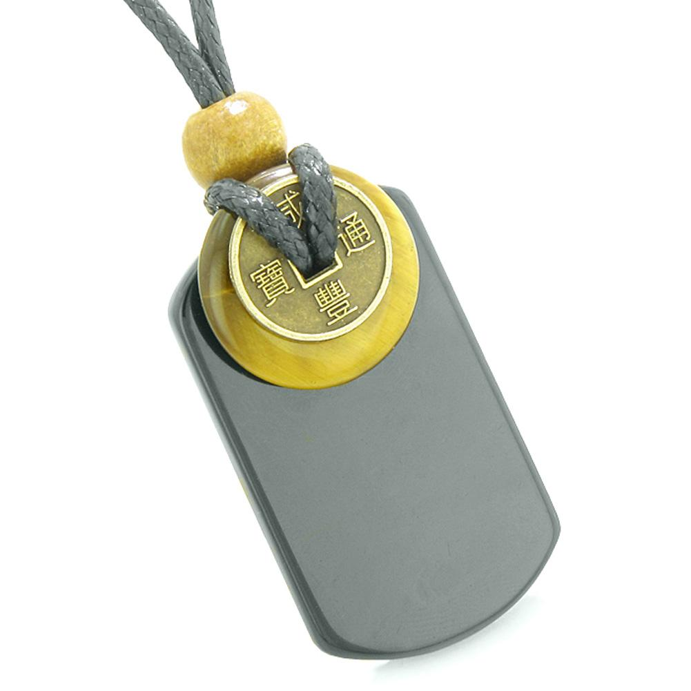 Cool Black Agate Tag and Tiger Eye Lucky Coin Donut Amulet Magic Powers Pendant Necklace