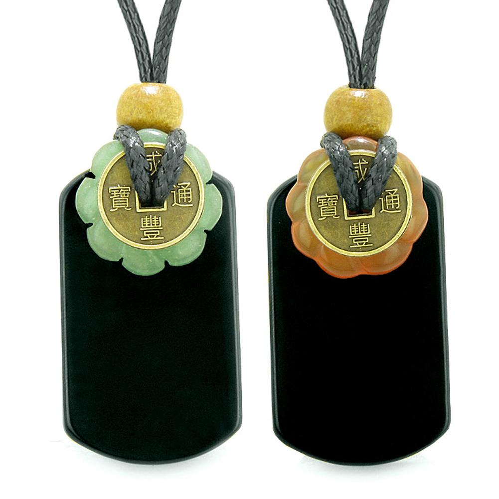 Cool Agate Tag Carnelian Green Quartz Lucky Celtic Coin Donut Amulets Couples or Best Friends Necklaces