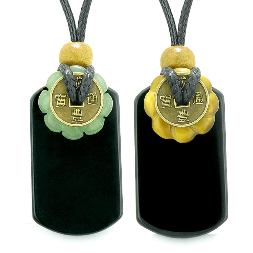 Cool Agate Tag Tiger Eye Green Quartz Lucky Celtic Coin Donut Amulets Couples or Best Friends Necklaces