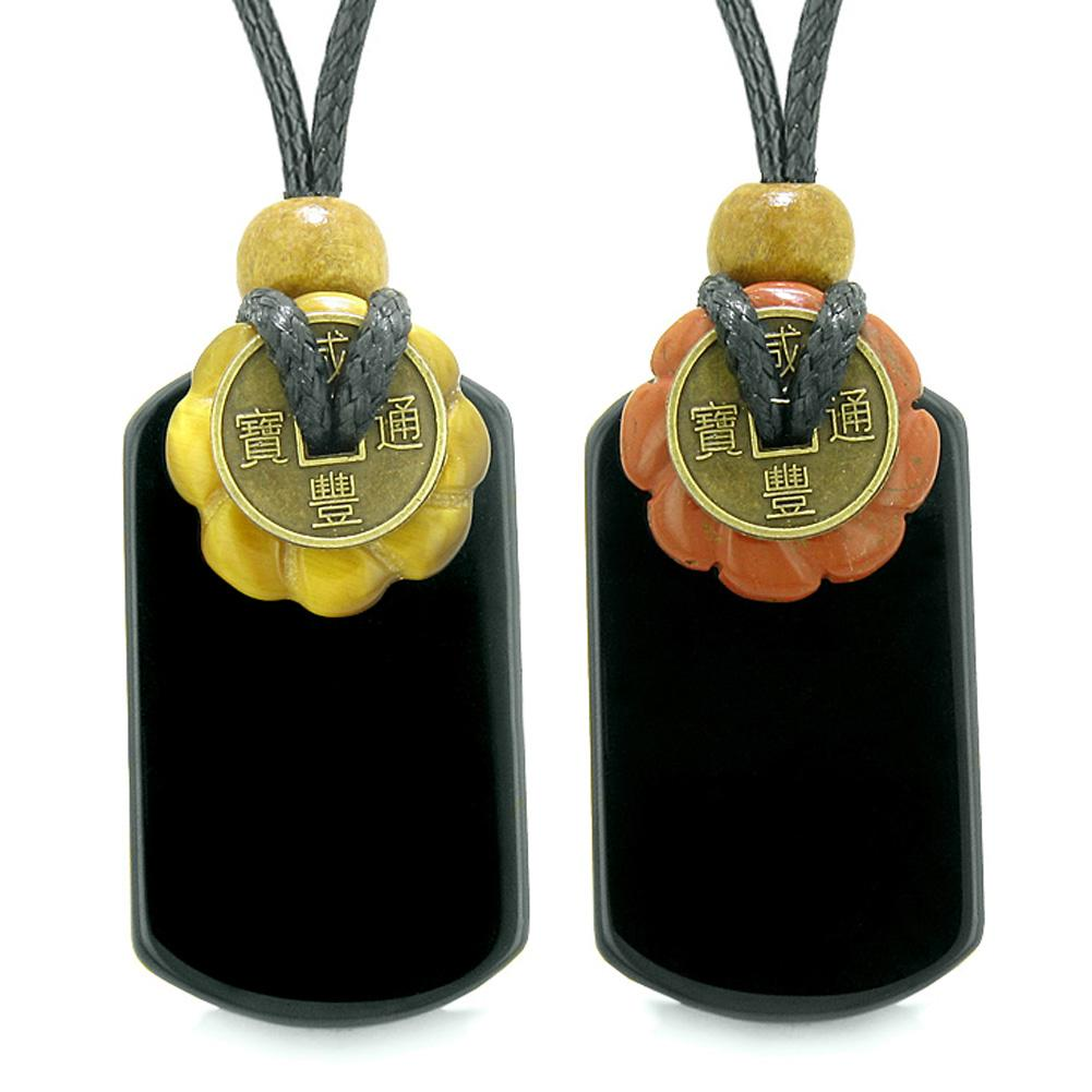 Cool Agate Tag Red Jasper Tiger Eye Lucky Celtic Coin Donut Amulets Couples or Best Friends Necklaces