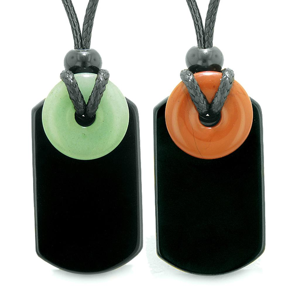 Cool Agate Tag Red Jasper Green Quartz Lucky Magic Donut Amulets Love Couples or Best Friends Necklaces