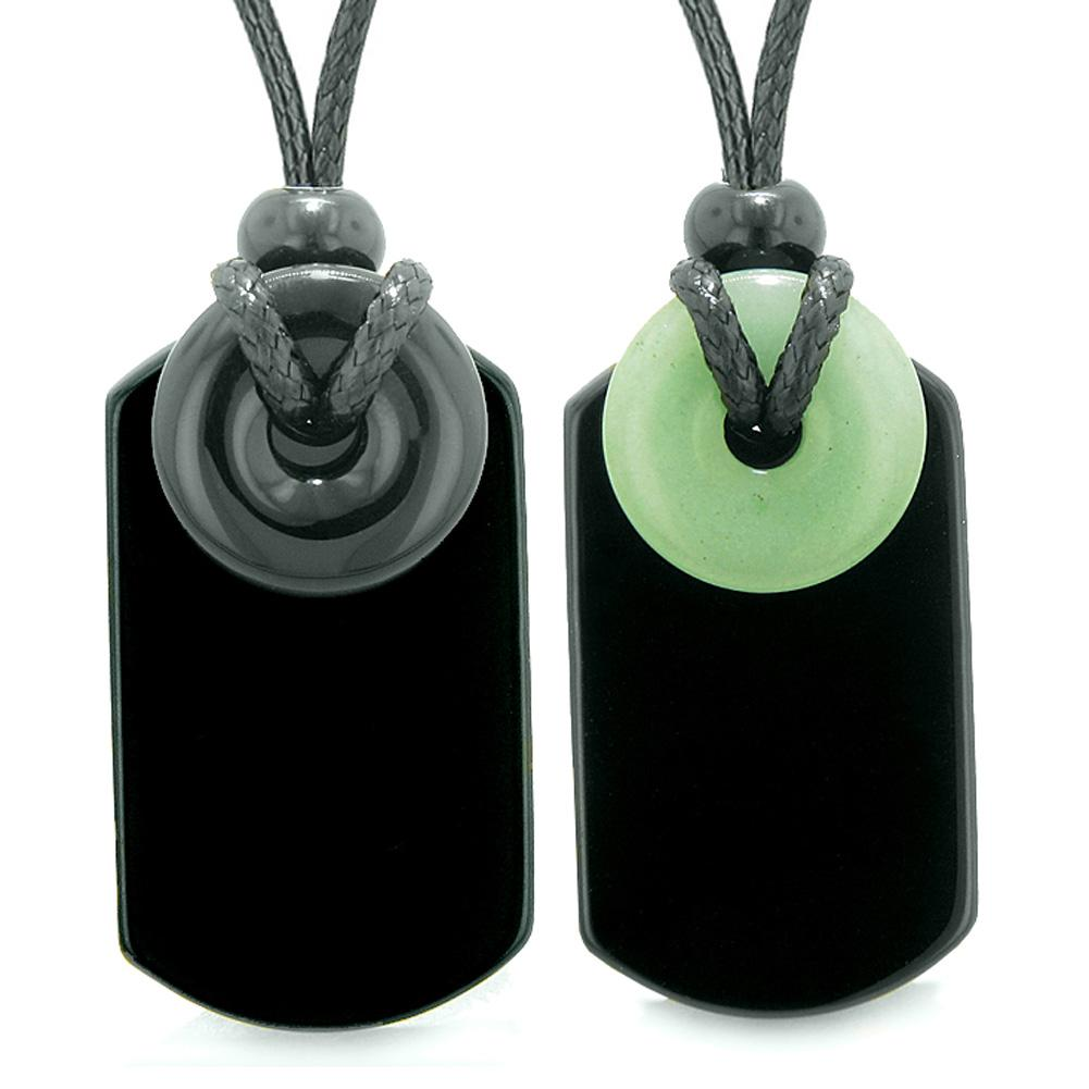 Cool Black Agate and Green Quartz Lucky Magic Donut Tag Amulets Love Couples or Best Friends Necklaces