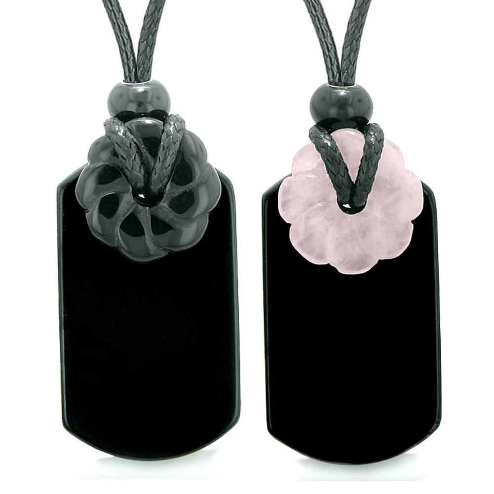 Cool Black Agate Rose Quartz Lucky Celtic Flower Donut Tag Amulets Love Couples or Best Friends Necklaces