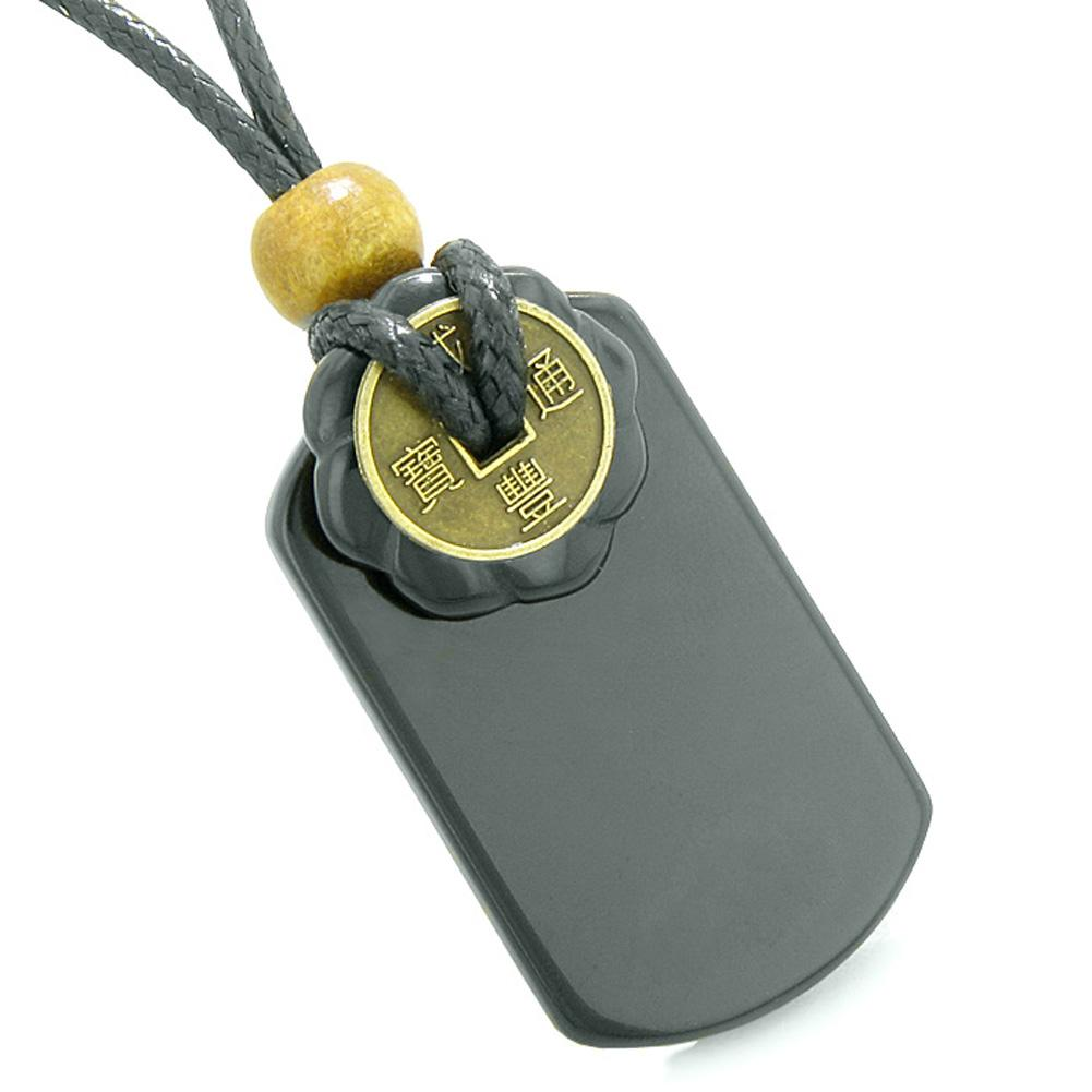 Cool Black Agate Tag and Lucky Coin Celtic Donut Amulet Magic and Spiritual Powers Pendant Necklace