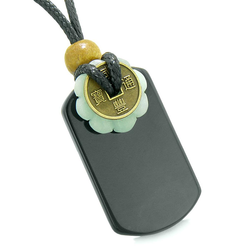 Cool Black Agate Tag and Amazonite Lucky Coin Celtic Donut Amulet Magic Powers Pendant Necklace