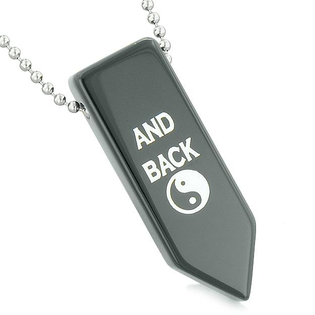 I Love You to the Moon and Back Reversible Yin Yang Energy Amulet Arrowhead Black Agate Necklace