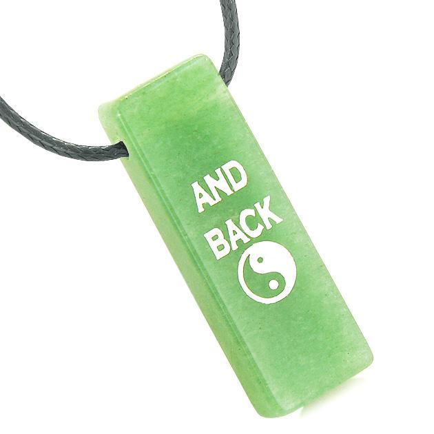 I Love You to the Moon and Back Reversible Yin Yang Energy Amulet Tag Green Quartz Necklace