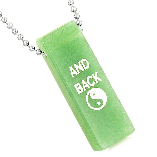 I Love You to the Moon and Back Reversible Yin Yang Energy Amulet Tag Green Quartz 18 Inch Necklace