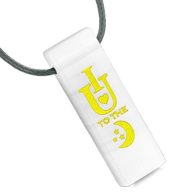 I Love You to the Moon and Back Reversible Amulet Yin Yang Energy White Simulated Cats Eye Necklace