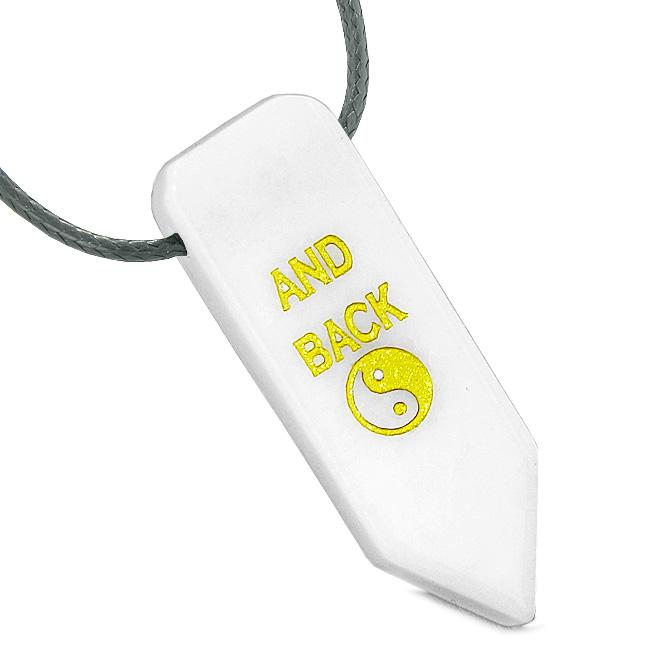 I Love You to the Moon and Back Reversible Yin Yang Energy Amulet Arrowhead White Quartz Necklace