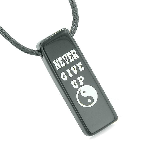Never Give Up Reversible Amulet Yin Yang Balance Energy Powers Tag Black Agate Necklace