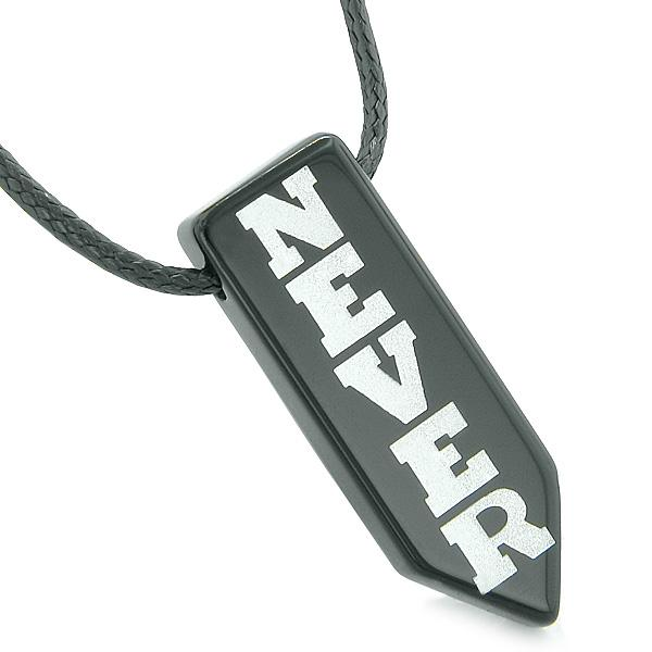 Never Give Up Reversible Amulet Balance Energy Yin Yang Powers Arrowhead Black Agate Necklace