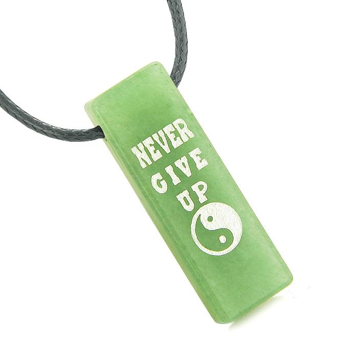 Never Give Up Reversible Amulet Balance Energy Yin Yang Powers Tag Green Quartz Necklace