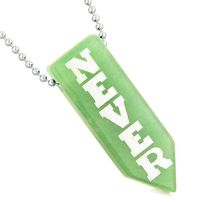 Never Give Up Reversible Amulet Yin Yang Balance Powers Arrowhead Green Quartz Pendant Necklace