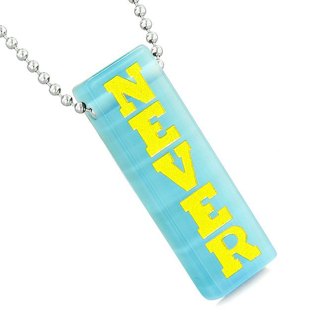 Never Give Up Reversible Amulet Powers Yin Yang Tag Sky Blue Simulated Cats Eye Pendant Necklace