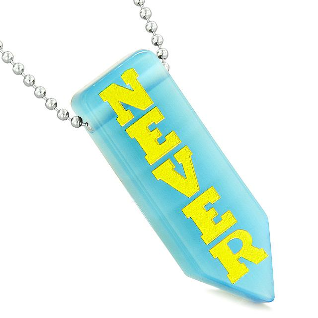 Never Give Up Reversible Amulet Arrowhead Yin Yang Sky Blue Simulated Cats Eye Pendant Necklace