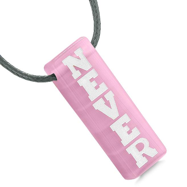 Never Give Up Reversible Amulet Yin Yang Balance Energy Powers Tag Pink Simulated Cats Eye Necklace