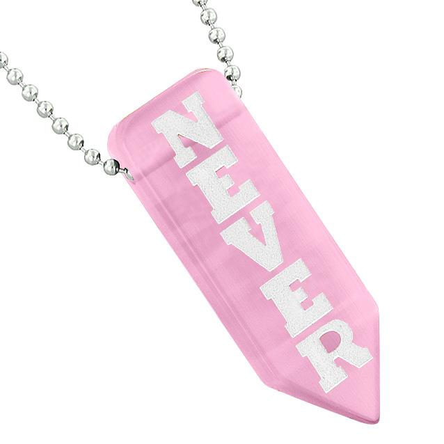 Never Give Up Reversible Amulet Power Yin Yang Arrowhead Pink Simulated Cats Eye Pendant Necklace