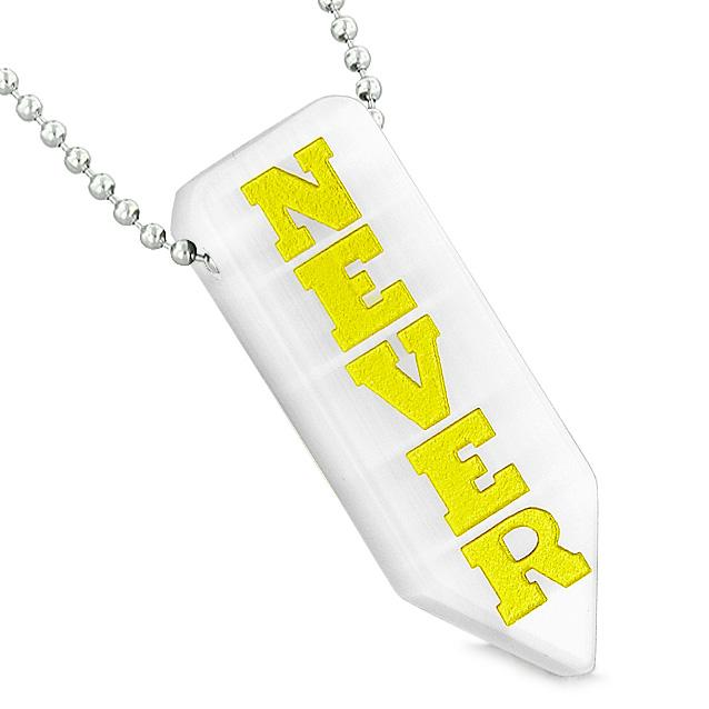 Never Give Up Reversible Amulet Arrowhead Yin Yang White Simulated Cats Eye Pendant Necklace