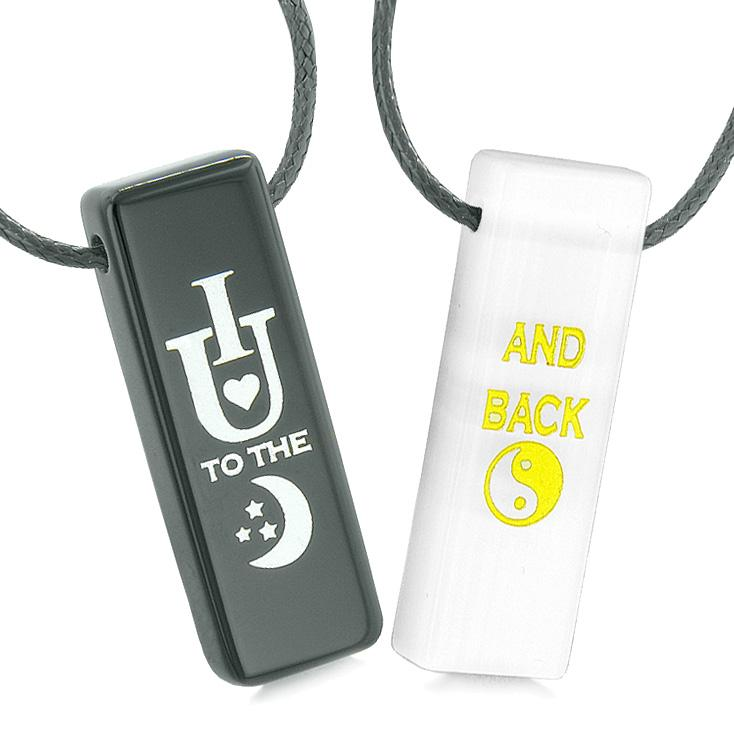 I Love You to the Moon and Back Amulets Love Couples White Simulated Cats Eye Black Agate Necklaces