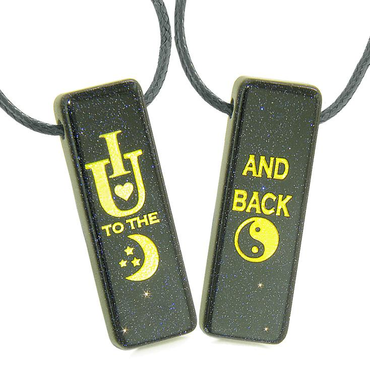 I Love You to the Moon and Back Magic Amulets Couples or Best Friends Blue Goldstone Tag Necklaces