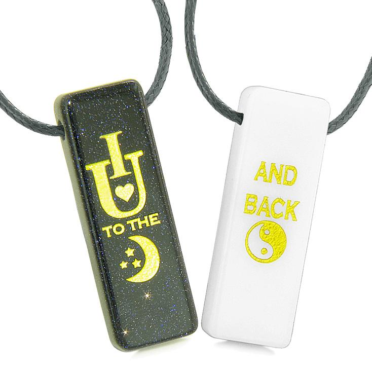 I Love You to the Moon and Back Magic Amulets Couples White Quartz Blue Goldstone Tag Necklaces