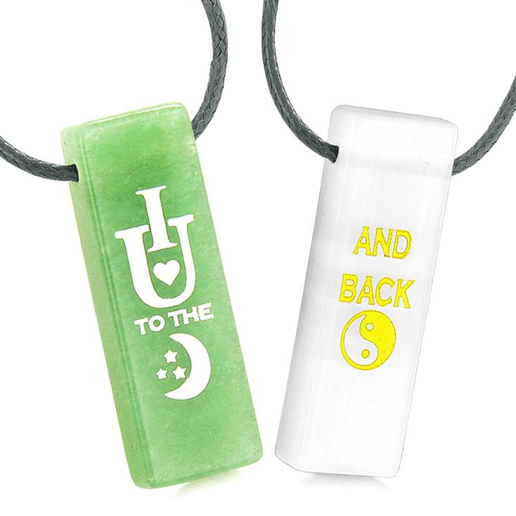 I Love You to the Moon and Back Amulets Love Couples Simulated Cats Eye Green Quartz Necklaces