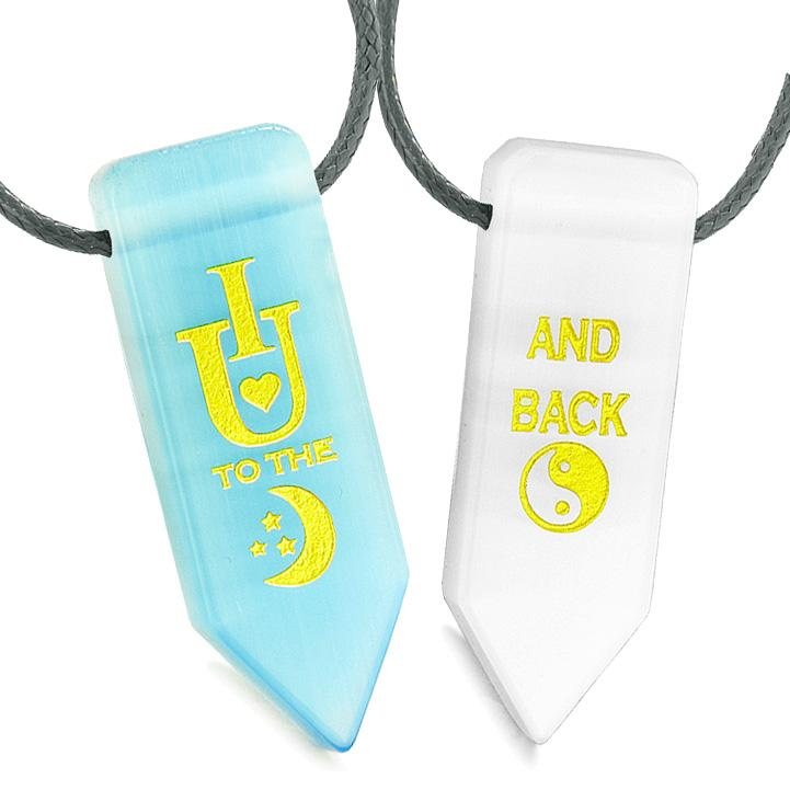 I Love You to the Moon and Back Amulets Couples Blue White Simulated Cats Eye Arrowhead Necklaces
