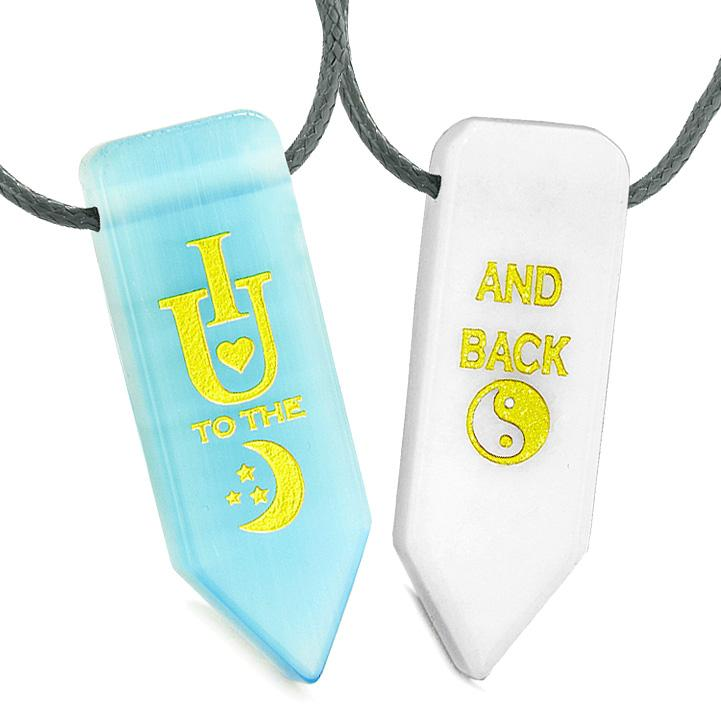 I Love You to the Moon and Back Amulets Love Couples Simulated Cats Eye Quartz Arrowhead Necklaces