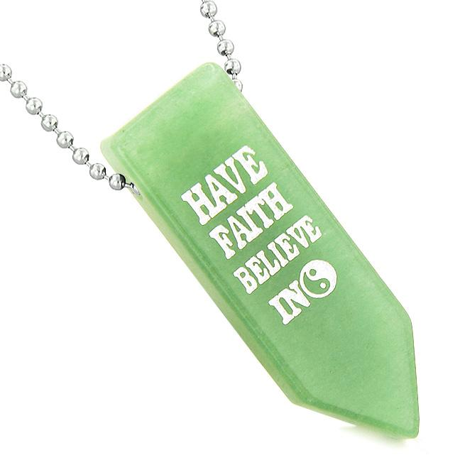 Have Faith Believe in Miracles Reversible Amulet Yin Yang Energy Arrowhead Green Quartz Necklace