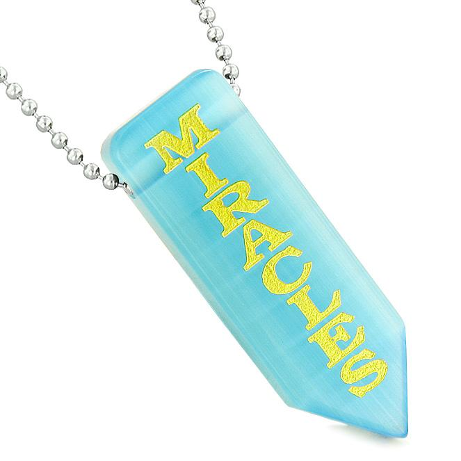 Have Faith Believe Miracles Reversible Yin Yang Amulet Arrowhead Blue Simulated Cats Eye Necklace