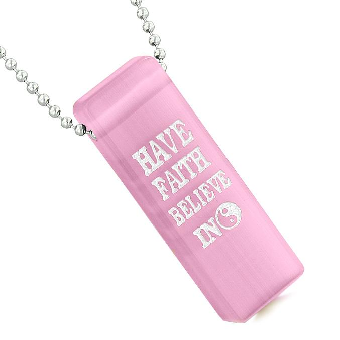 Have Faith Believe Miracles Reversible Amulet Yin Yang Energy Tag Pink Simulated Cats Eye Necklace