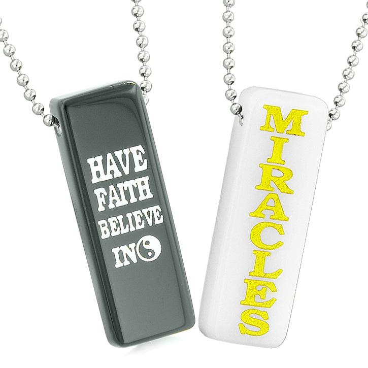 Have Faith Believe in Miracles Best Friends Love Couples Yin Yang White Quartz Agate Necklaces