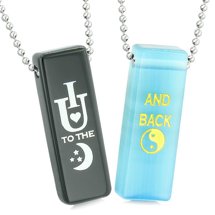 I Love You to the Moon and Back Couples Amulets Blue Simulated Cats Eye Black Agate Tag Necklaces