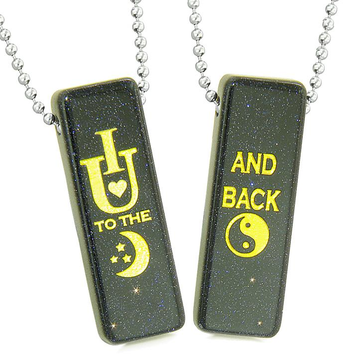 I Love You to the Moon and Back Magic Couples or Best Friends Amulets Blue Goldstone Tag Necklaces