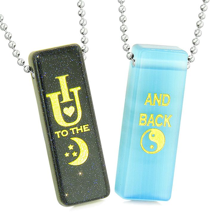 I Love You to the Moon and Back Couples Amulets Blue Simulated Cats Eye Goldstone Tag Necklaces