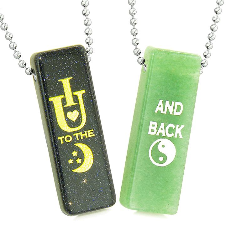 I Love You to the Moon and Back Magic Couples Amulets Green Quartz Blue Goldstone Tag Necklaces