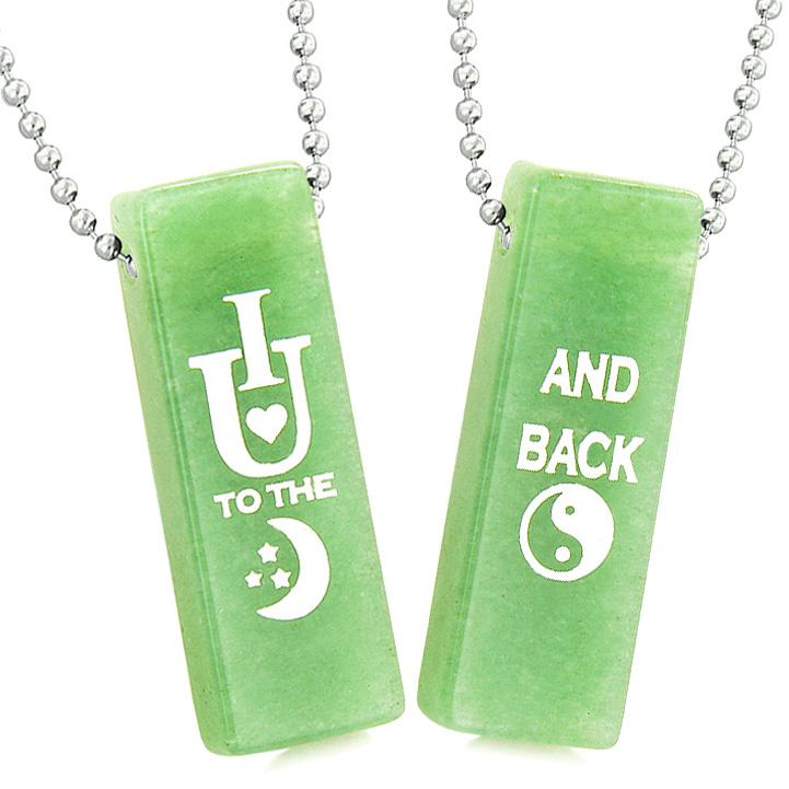 I Love You to the Moon and Back Magic Couples or Best Friends Amulets Green Quartz Tag Necklaces