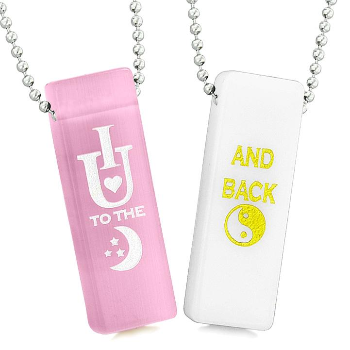 I Love You to the Moon and Back Couples Amulets Pink Simulated Cats Eye White Quartz Tag Necklaces