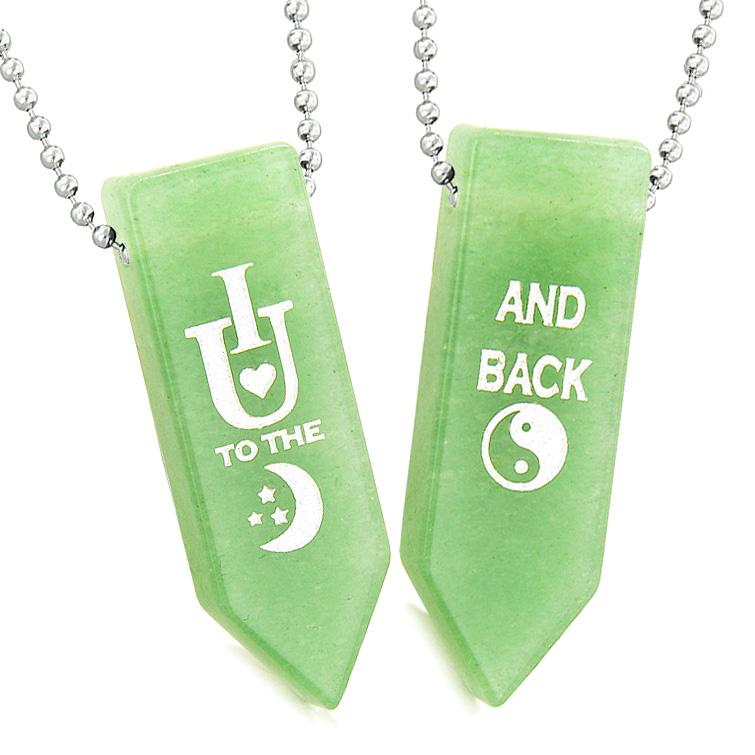 I Love You to the Moon and Back Magic Couples Best Friends Amulets Green Quartz Arrowhead Necklaces