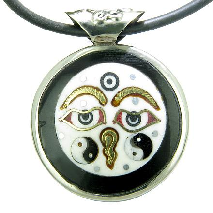 Amulet Doublesided Tibetan Buddha All Seeing Eye Ying Yang OM Magic Brass Bone Pendant Necklace