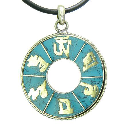 Amulet Tibetan Wheel of Fortune Mantra OM Mani Padme Hum Magic Circle Turquoise Pendant Necklace
