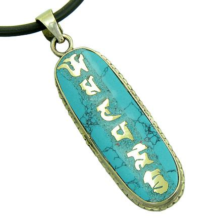 Amulet Tibetan Mantra Om Mani Padme Hum Turquoise Gemstone Magic Symbol Prayer Tag Pendant Necklace