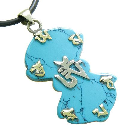 Amulet Tibetan OM Mani Padme Hum Mantra RDO RJE Magic Symbols Turquoise Gemstone Pendant Necklace