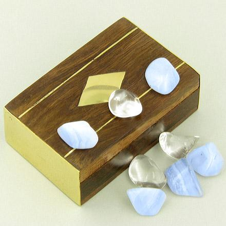 Small Treasure Chest Good Luck Talisman Wish Box with Lace Agate