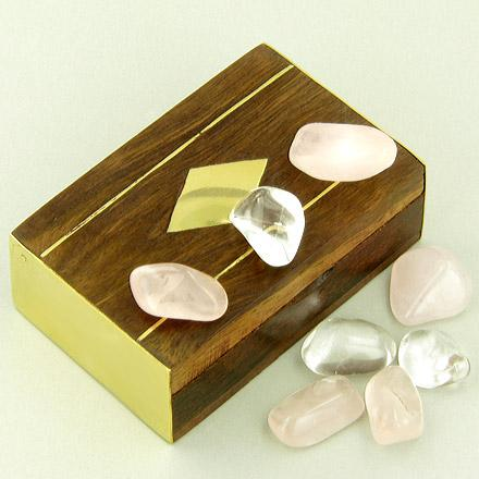 Small Treasure Chest Love Talisman Wish Box With Rose Quartz