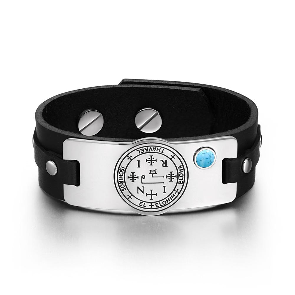 Archangel Thavael Sigil Magic Powers Amulet Tag Simulated Turquoise Black Leather Bracelet
