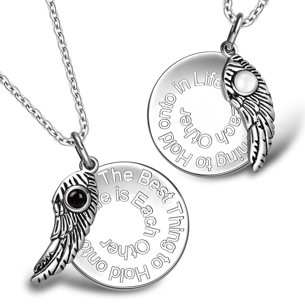 The Best Thing to Hold onto in Life Inspirational Wing Couples Simulated Onyx Cats Eye Necklaces